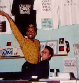 Picture taken at the real-life LGBT bookstore Middleground. I'm lifting one of my clerks in the air.